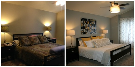 Before and after image of staged bedroom